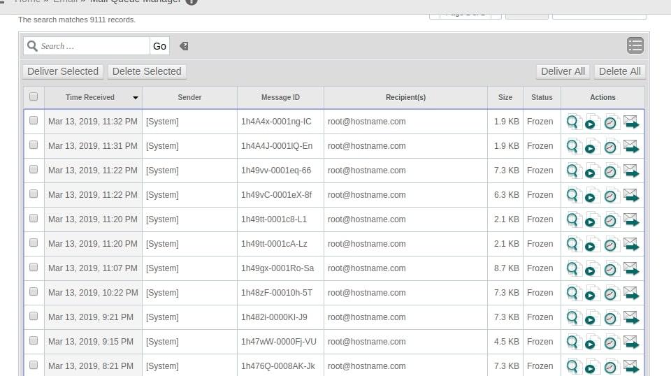 پر شدن صف ایمیل WHM توسط ایمیل های روت